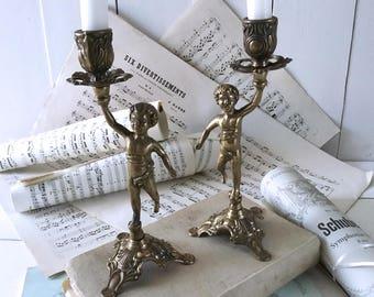 Brass candlestick holder, 2 French vintage cherub candlestick holders, candle holder, mantel candlesticks, Brass French, French antique