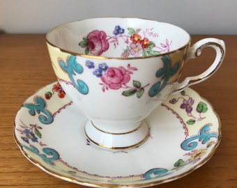 Tuscan Hand Painted Teacup and Saucer, Bone China Tea Cup and Saucer, Intricate Flowers and Swirls