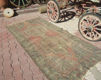 Vintage Turkish Rug,Unique Hand Knotted Wool Area Rug,Pale Faded Muted Colors Rug,Kitchen Living Room Decor Rug,Oriental Rug,4'x8'7''ft