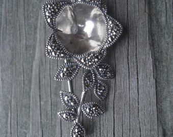 Marcasite Jewelry Flower Brooch Signed JJ Sterling Vintage Costume Jewelry 02159