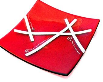 "Red Ribbons 12"" Platter 7000"