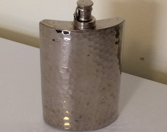 Vintage flask, made in West Germany , hip flask, Cold War era flask, pocket flask, hammered chrome flask
