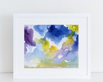 Modern Art, Watercolor Print, Sky, Clouds, Art Print, Abstract Art Print, purple, Landscape art print, contemporary art
