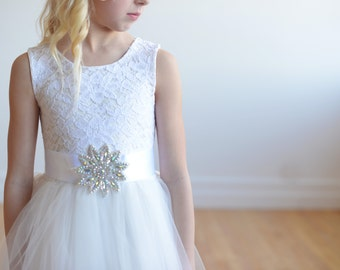 The Honiton First Communion Dress or Flower Girl Dress With Diamanté Sash