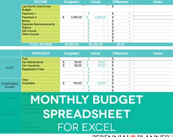 Monthly Budget Spreadsheet, Household Money Tracker, Microsoft Excel Template, Home Finance Spending Calculator