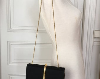 Vintage Luxury Italian black gold clutch bag RODO gold chain Minaudière