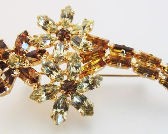 Vintage Sparkling Brown Clear Rhinestone Floral Brooch Pin