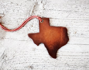 Texas State Luggage Tag, Genuine Leather Bag Identifier Roadtrip Travel Gift