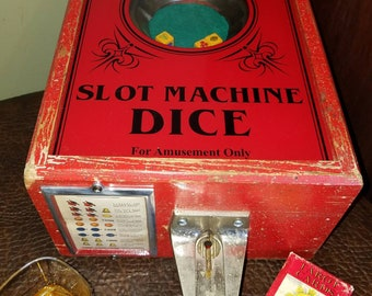 Vintage Coin Operated Slot Machine Dice Game Fortune Telling Stimulator 5 cent 1940s