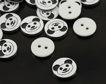 set of 20 buttons black and white panda 12.5 mm 2 nine holes