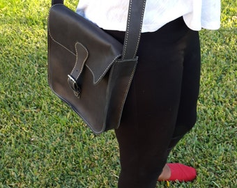 Small Womens Ethiopian Leather Messenger Bag