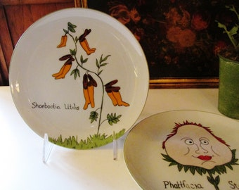 Vintage Nonsense Plates by Franci for Taste Setter by Sigma, Villa Vanilla Palm Beach Whimsical Decorative Plates, Palm Beach Decor