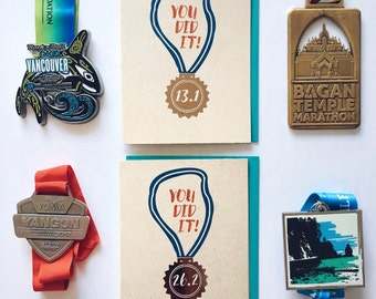 Marathon Runner Congratulations Card, Half Marathoner Card, Runner Medal Card, Finisher Medal 26.2 miles, 13.1 miles card