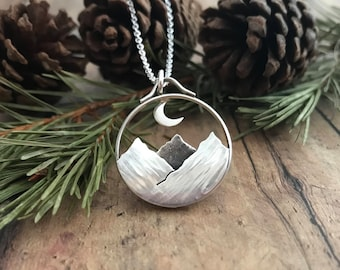 Mountain and Moon Necklace, Hand Cut, Sterling Silver, Shadowbox Mountainscape and Crescent Moon Necklace