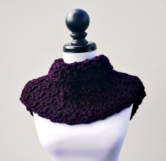 Crocheted Cowl Scarf - Lucienne Cowl in Eggplant Purple Cowl - Purple Scarf Purple Womens Cowl Womens Accessories