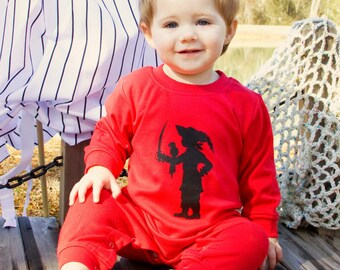Buccaneer Boy Long Sleeved Nostalgic Graphic Tee Romper in Red with Black FREE SHIPPING