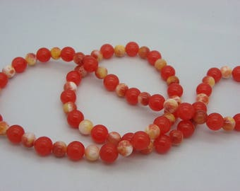 jade 10 mm and 8 mm orange coral stone necklace, white
