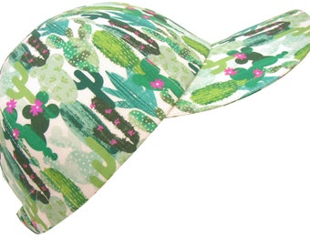 Oasis - Green Cactus with Pink Flowers Theme Print Baseball Ball Cap Ladies Women Mens Southwestern Desert Fashion Sports Hat by Calico Caps