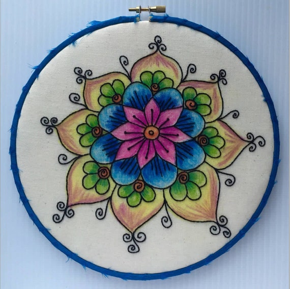 Colorful Painted Flower Hand Embroidered Hoop Art, Mandala, Wax, Whimsical,  Hand Embroidered