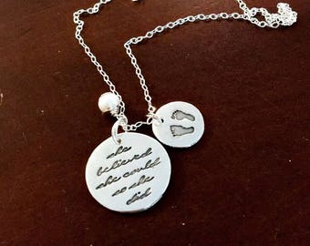 "Infertility or motivational necklace. ""She belived she could so she did"" with a small added charm. With either initials, footprint, or pic."