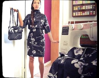 Hand-sewn dress and velvet chenille backpack