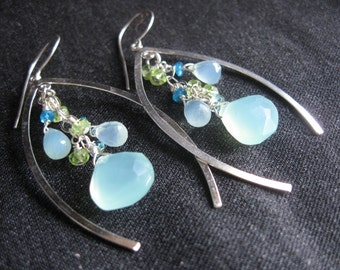 Wishbone Cluster Earrings- Chalcedony, Peridot, Apatite, Silver