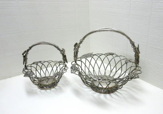 Vintage Godinger Silver Art Wire Baskets Truss Of Grapes And Leaves Vineyard Design Lot Of 2