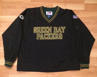 Large 90's Green Bay Packers jacket pullover coat men's vintage Champion 1990's NFL Pro Line blcak yellow