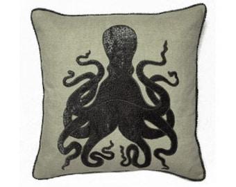 Octopus  Pillow - Nautical Throw Pillow - Coastal Decor Pillow
