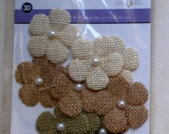 Burlap Daisies  with imitation pearl centre - 9 in pack