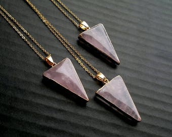 Rose Quartz Necklace Rose Quartz Triangle Necklace Rose Quartz Pendant Geometric Stone Necklace Rose Quartz Jewelry Geometric Jewelry