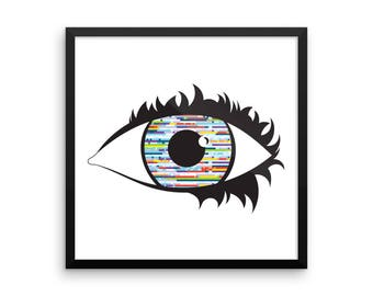 Stay Tuned! Graphic Pop Art Eye Illustration Print Poster Home Glitch 80s Lichtenstein Warhol Eyeball Glitch Modern Comic