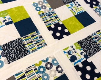 Baby Quilt - Lime Green, Navy, Grey, White - Modern Baby Quilt - Gender neutral