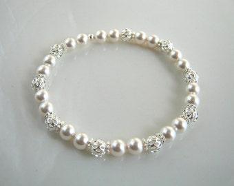 Silver Filigree White Pearl Stretch Bracelet Swarovski White Pearl Bridal Bracelet Pearl Wedding Bracelet