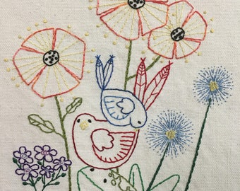 Prim Hand Embroidery Pattern - Frog and Birds