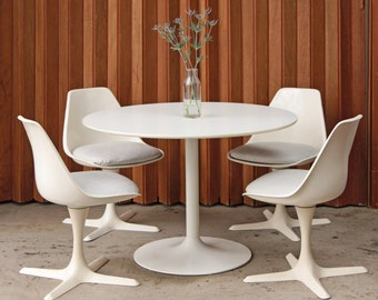4 Burke Dining Chairs - Swivel Tulip Chairs Mid Century
