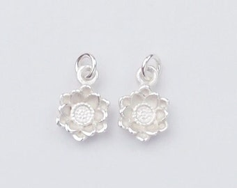 2 of 925 Sterling Silver Flower Charms 7mm., Tiny Charms ,Matte Finish. :th2099