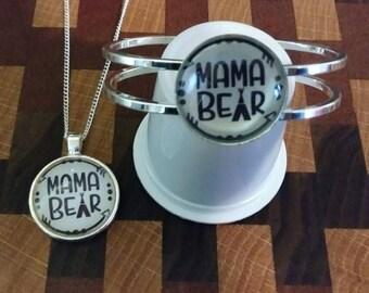 Mama Bear Necklace and Bracelet Set