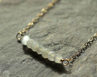 Gold Moonstone Necklace - Dainty gemstone necklace - 14K gold filled - Layering necklace - Moonstone jewelry - Gift for teen - Mimimalist