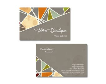 Card customizable graphic mosaic business, professional, creative business card