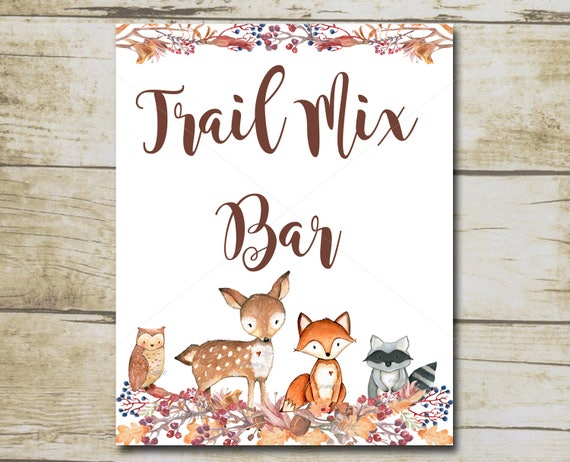 trail mix bar sign woodland baby shower party decorations