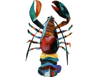 Lobster 8.5 x 11 Print of an Original Collage