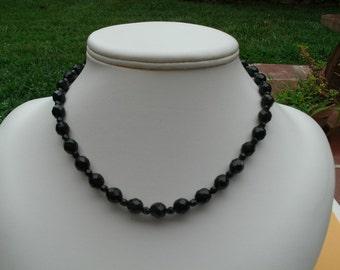 Black Czech Fire Polished Glass Bead Choker Necklace