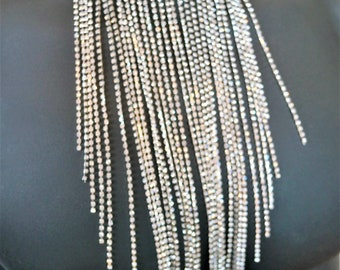 Clear Crystal Silver Chain Fringe Choker Necklace
