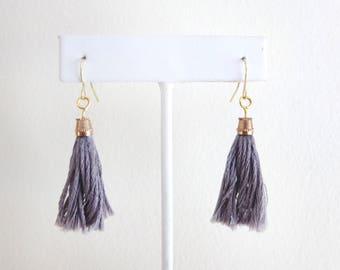 Tassel Earrings - Gray - French Hook