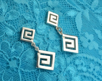 greek key silver dangle earrings, meander earrings, greek earrings, greek jewelry, greek key, greek key jewelry, greek key earrings, greek