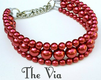 The Via in Red ~ Pearl Dog Collar,Cat collar, Buckle Collars, Martingale Collars, Dog Pearls UNBREAKABLE GUARANTEE!
