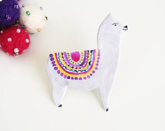 Llama Pin - Alpaca Pin - Watercolour Llama Pin - Alpaca Brooch - Animal Pin - Llama Gift - Llama Brooch - Alpaca Jewellery - Lapel Pin