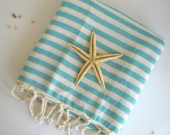 Turkish Towel, Peshtemal, Bath and beauty, beach towel, hammam towel, bath, Aqua Striped,, mother's day
