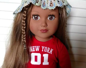Machine Embroidered Lace Hat for American Girl Sized Doll